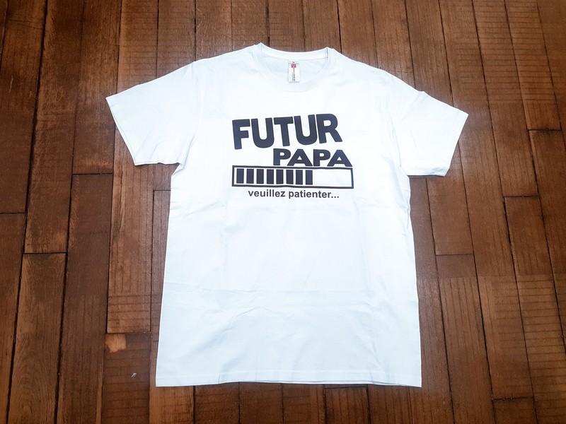 T-shirt blanc Futur papa - Voir en grand