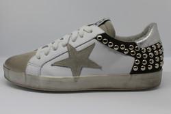 MELINE baskets étoile (blanc/daim kaki/clous) - BASKETS - EVIDENCES  - Voir en grand