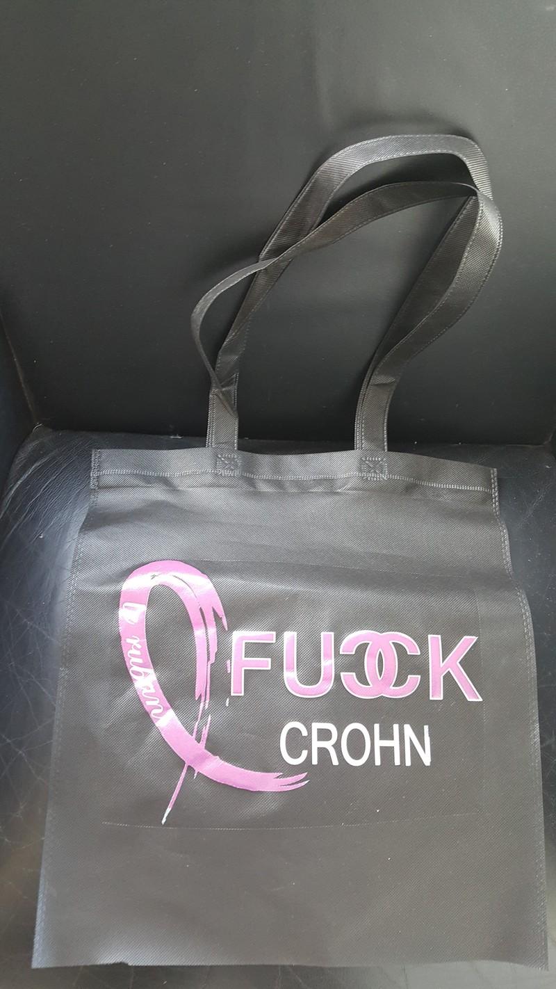 Cabas noir sac de courses Fuck Crohn - LE RDV DES MICIENS ET DES MICIENNES - TIME'S - CADEAUX PERSONNALISES - Voir en grand