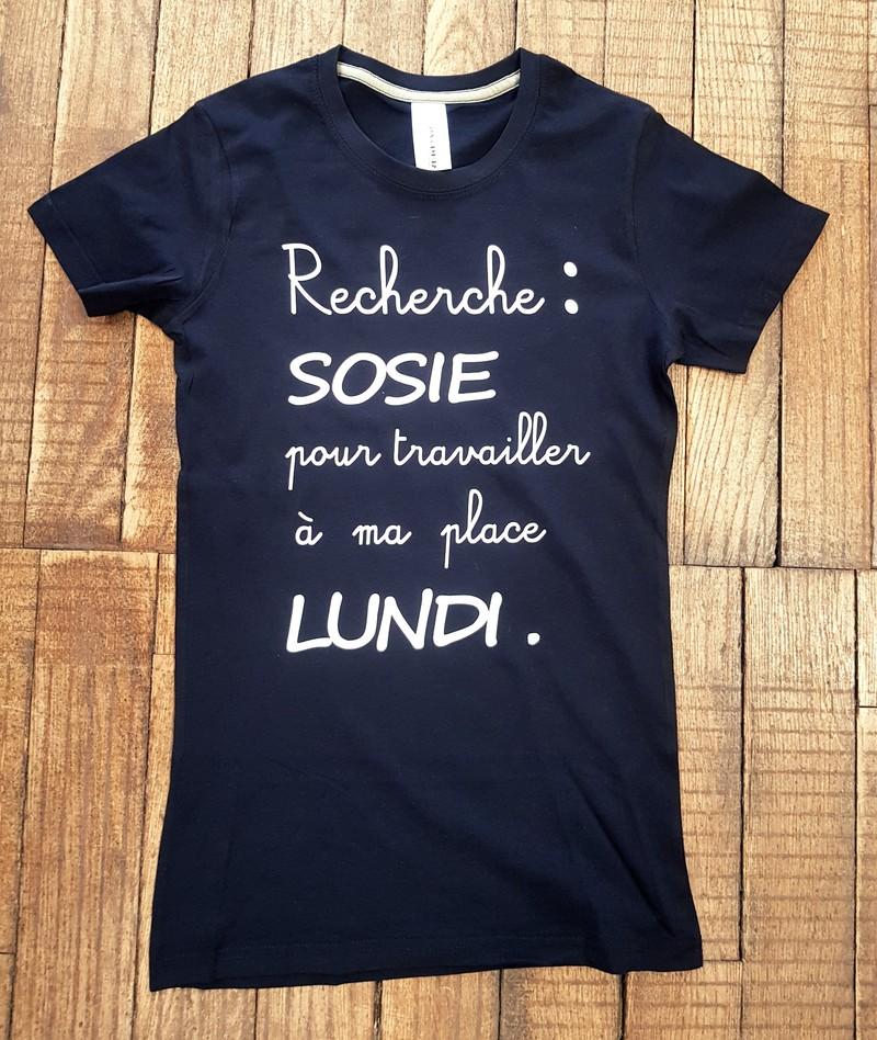 T-shirt noir Recherche:Sosie pour travailler à ma place lundi - Voir en grand