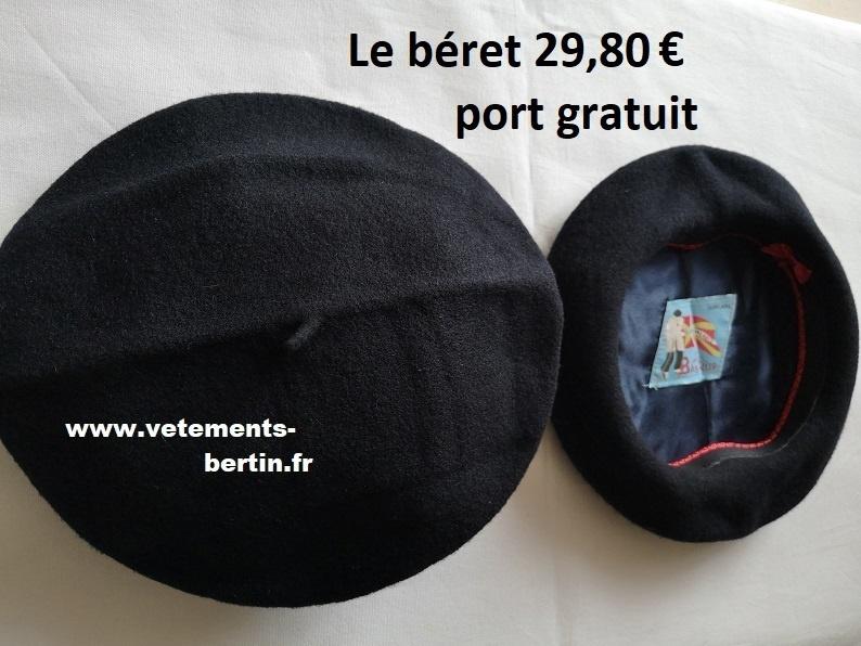 Béret pure laine en bleu marine, A, www (2), port gratuit - Voir en grand