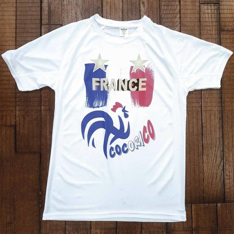 T-shirt blanc technique Deux étoiles FRANCE COCORICO - Voir en grand
