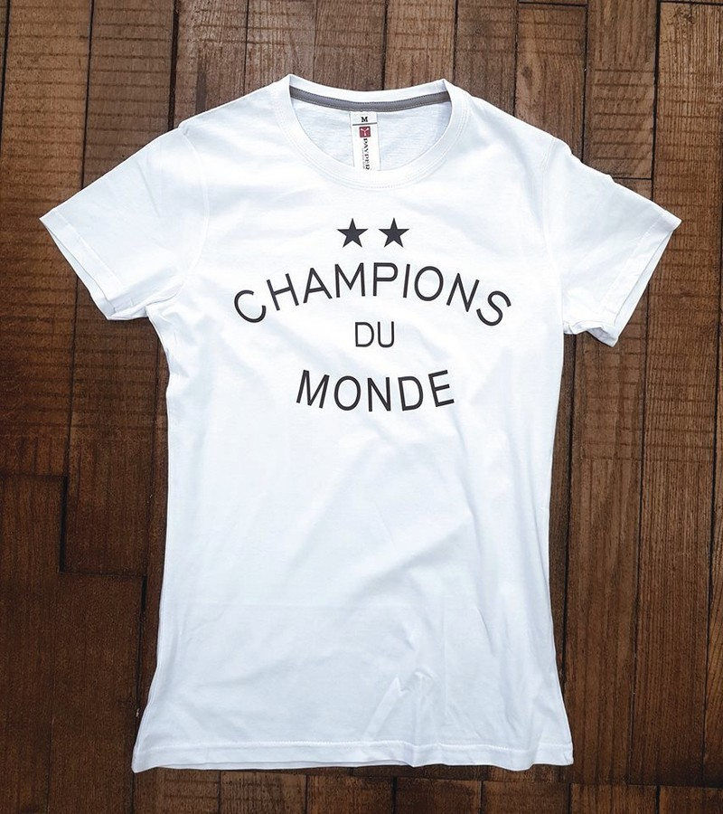 T-shirt blanc coton CHAMPIONS DU MONDE - Voir en grand