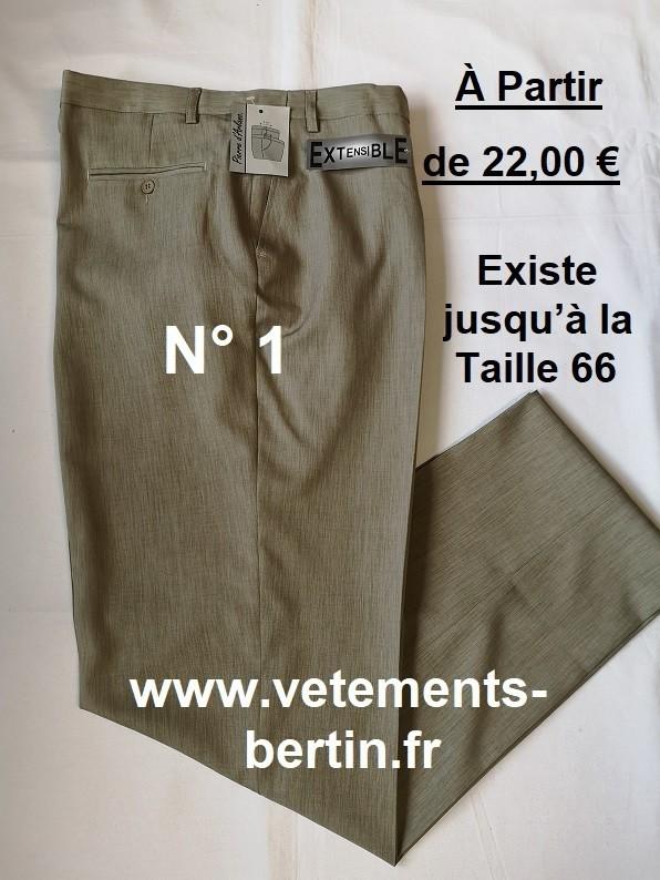 Pantalon Homme Habillé, 100 % Pyester, N°1,  WWW.vetements-bertin.fr - Voir en grand