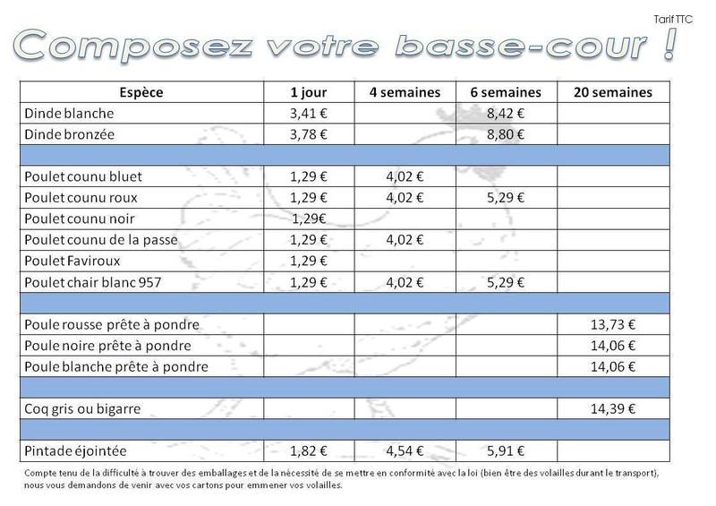 Tarifs poule 2019 MAFRA Point Vert dans les Vosges - Voir en grand