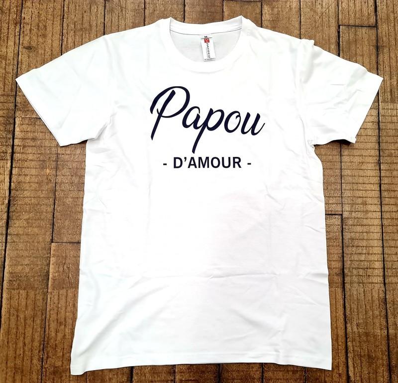 T-shirt blanc Papa d'amour - Voir en grand