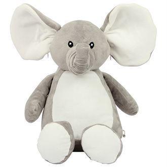 Peluche éléphant gris et blanc à personnaliser brodée - Voir en grand