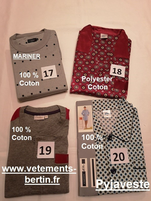 Pyjama homme grande taille, numéro 17 à 20composition, Pyjaveste, www.vetements-bertin.fr .  - Voir en grand