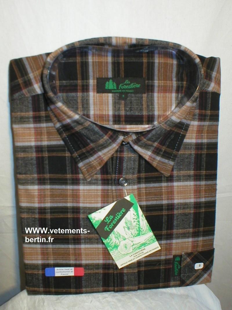 Chemise grand panet homme La Forestière, coton, jupe fermée, fabricat. Française, couleurs diverses - Voir en grand