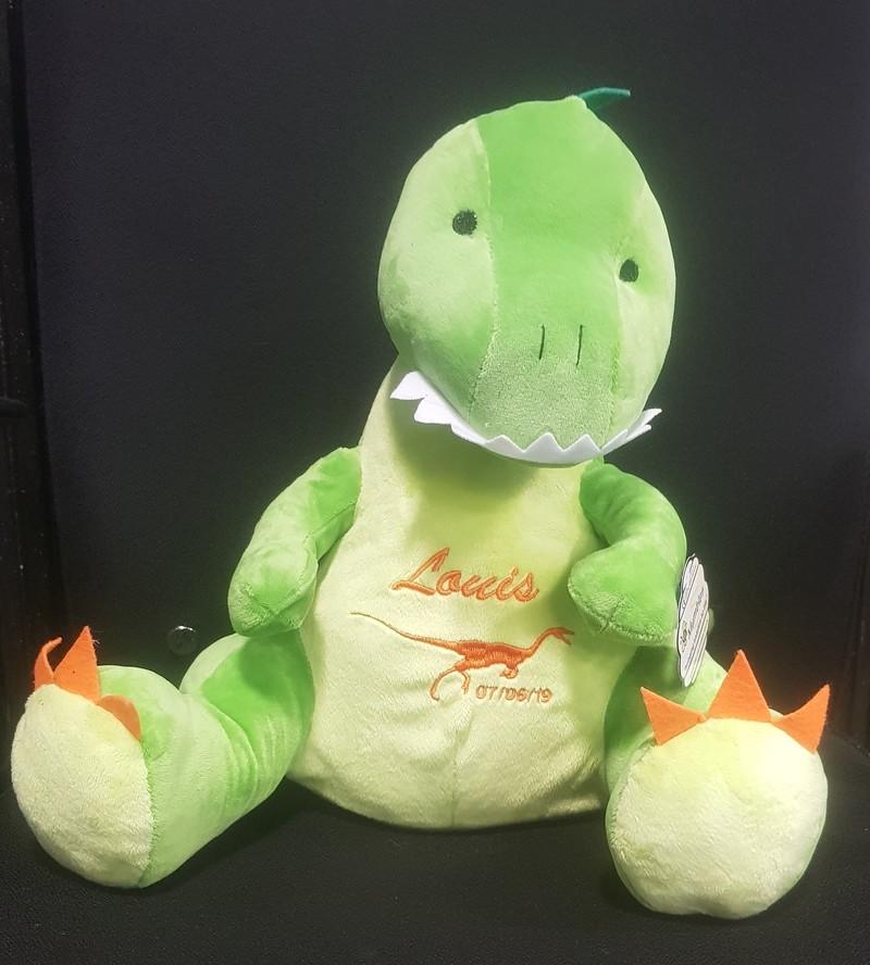 Peluche dinosaure vert et blanc à personnaliser brodée - PELUCHE PERSONNALISÉE BRODÉE   - TIME'S - CADEAUX PERSONNALISES - Voir en grand