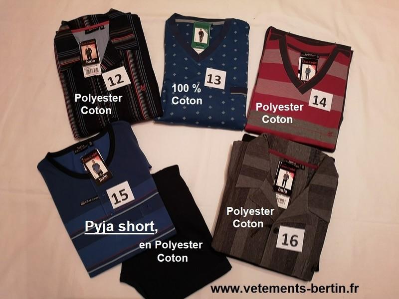 Pyjama Homme grande taille, numéro 12 à 16, composition, www.vetements-bertin.fr    - Voir en grand