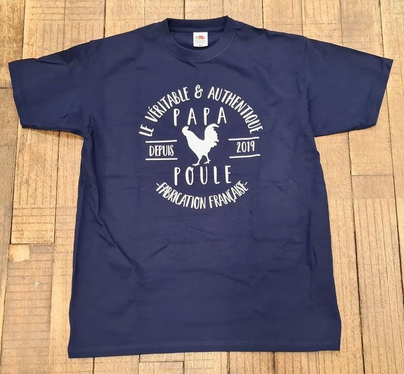 T-shirt noir Le véritable et authentique Papa poule depuis 2019, fabrication française. - Voir en grand