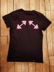 T-shirt Noir haltères  - T-SHIRT PERSONNALISE A MESSAGE - TIME'S - CADEAUX PERSONNALISES - Voir en grand