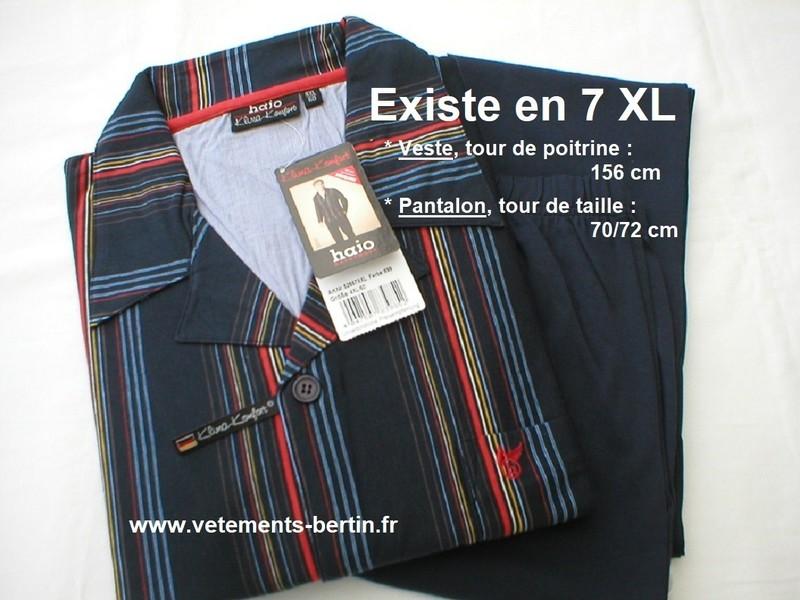 Pyjama homme grande taille, existe jusqu'à la taille 7 XL, www.vetements-bertin.fr  - Voir en grand