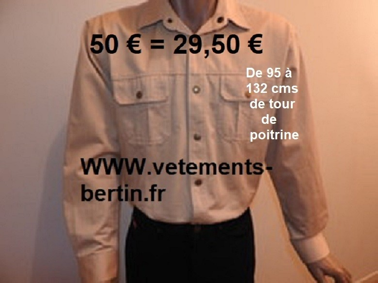 Chemise 2 poches poitrine, promo = 29,50 ¤ - Voir en grand