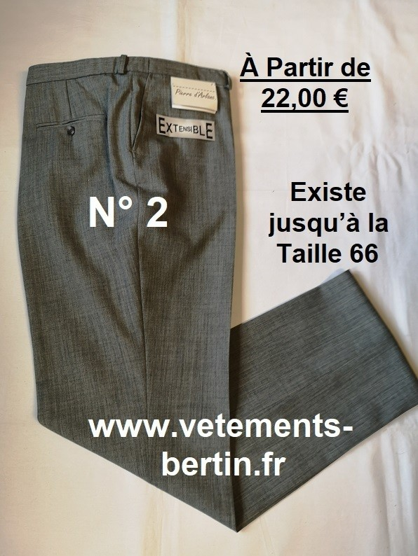 Pantalon Homme Habillé, Pyester-Laine, N° 2 - WWW.vetements-bertin.fr - Voir en grand