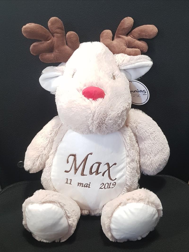 Peluche renne blanc et brun à personnaliser brodée - PELUCHE PERSONNALISÉE BRODÉE   - TIME'S - CADEAUX PERSONNALISES - Voir en grand