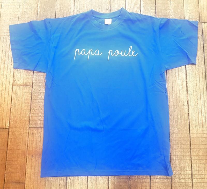 T-shirt bleu Papa poule - Voir en grand