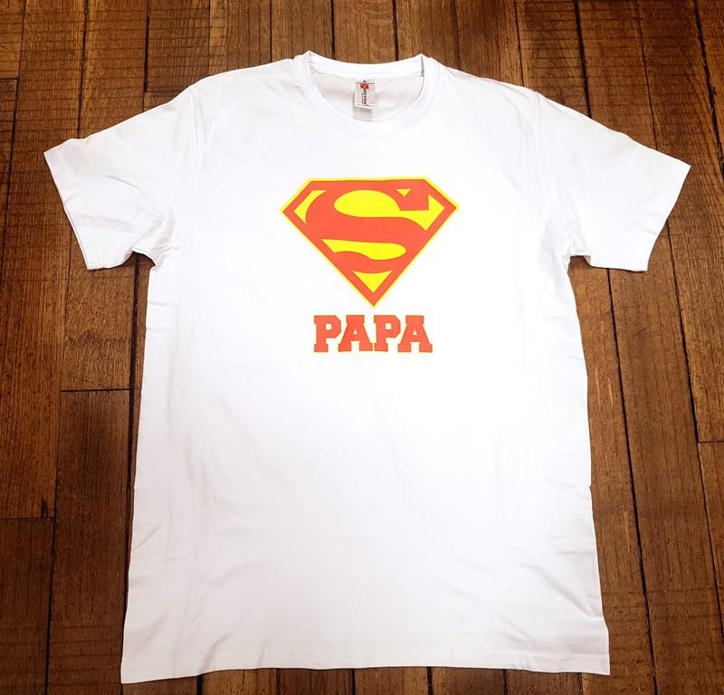 T-shirt blanc Super papa - Voir en grand