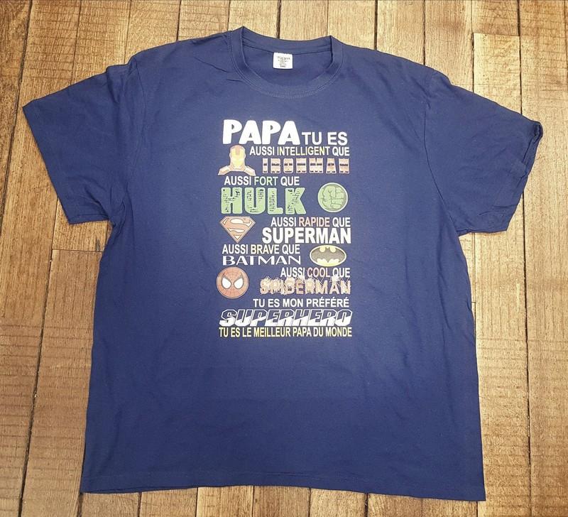 T-shirt Papa Super-héros - Fête des pères - TIME'S - CADEAUX PERSONNALISES - Voir en grand