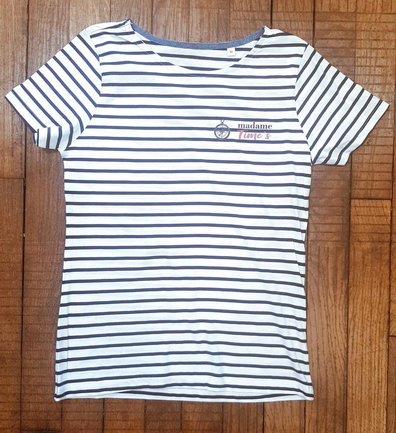 T-shirt marinière femme à personnaliser - Voir en grand