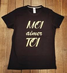 T-shirt noir personnalisé Moi aimer Toi - T-SHIRT PERSONNALISE A MESSAGE - TIME'S - CADEAUX PERSONNALISES - Voir en grand