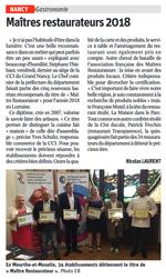 Maîtres Restaurateurs Est Républicain 25 Septembre 2018