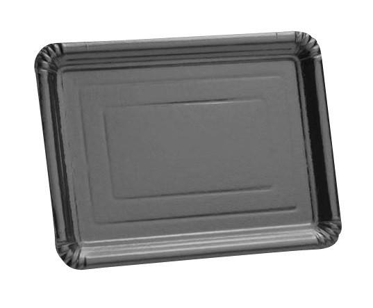PLAT CART RECT 23x33cm x 5 ARGENT - JETABLE - ATOUTVA - Voir en grand
