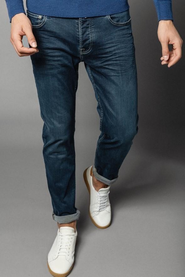 Jean bleu power twist SERGE BLANCO - Pantalons - chinos - jeans - BOUTIK HOMME - Voir en grand