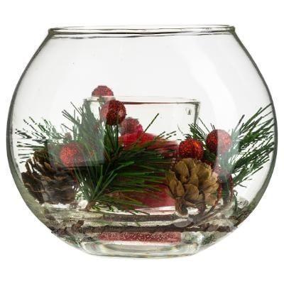 Bougie dans sa boule de verre décorée - Art de la table - Centrakor Sélestat - Voir en grand