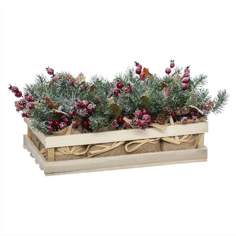 Bac à fleur avec branches en toile de jute - Déco de Noël - Centrakor Marmoutier - Voir en grand