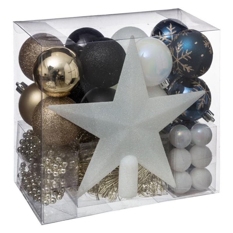 Kit boules & cimier 44 pièces - Déco de Sapin - Centrakor Marmoutier - Voir en grand