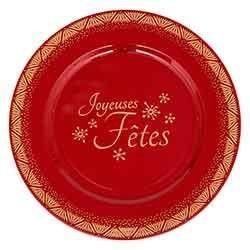 Assiette de présentation rouge - Joyeuses Fêtes - Art de la table - Centrakor Marmoutier - Voir en grand