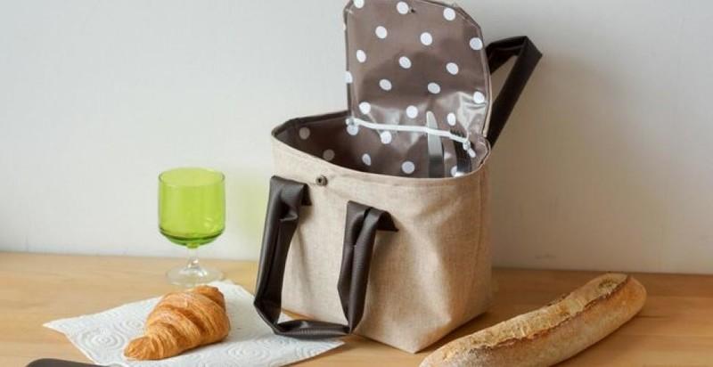 Le sac à repas doublé de toile enduite -  - AU DE A COUDRE - Voir en grand