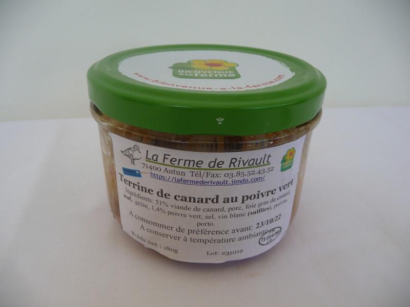 Terrine de canard au poivre vert - SCEA de Rivault - Les Ruchers du Morvan - Voir en grand
