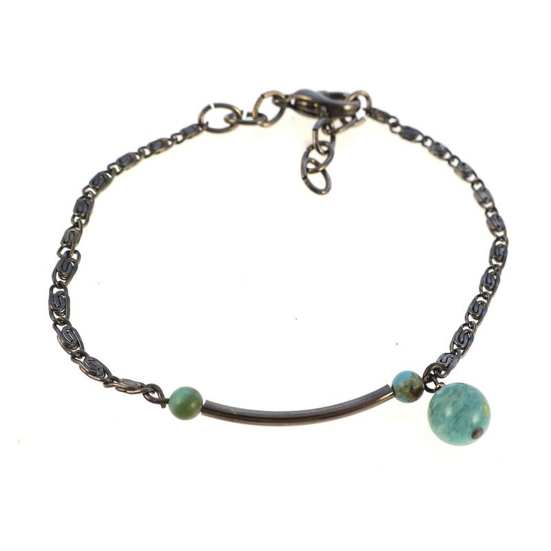 Bracelet Chloé turquoise et amazonite - Voir en grand