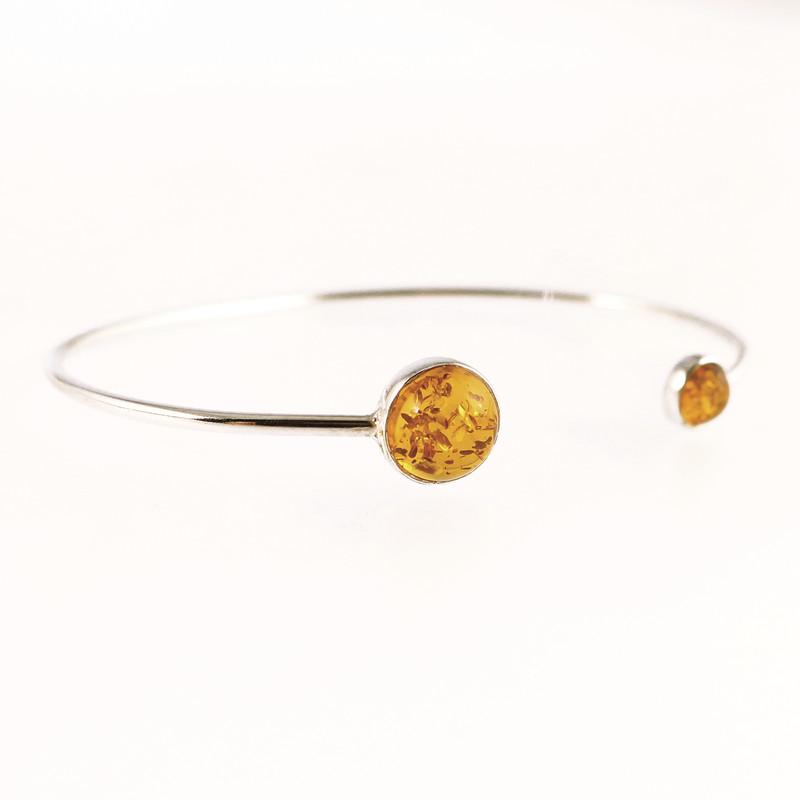 Bracelet rigide ambre et jonc argent - Voir en grand