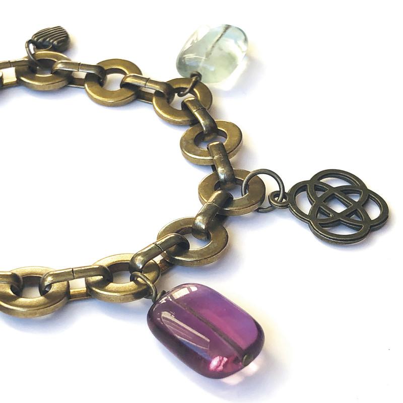 Bracelet Margot fluorine verte et parme - Voir en grand