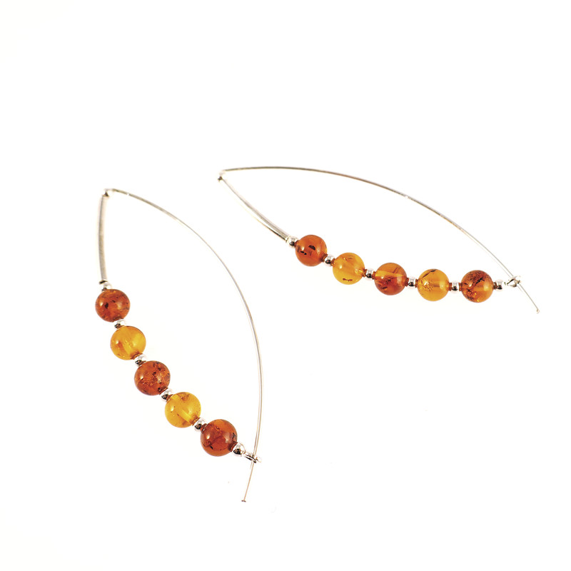 Boucles d'oreilles ambre et argent Cléo - Opalook - Voir en grand