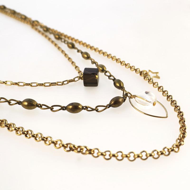 collier multichaines cristal de roche et quartz fumé - Voir en grand