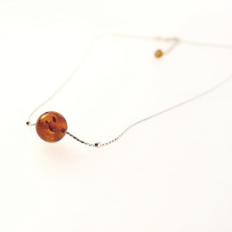 collier lili ambre et argent Opalook - Voir en grand