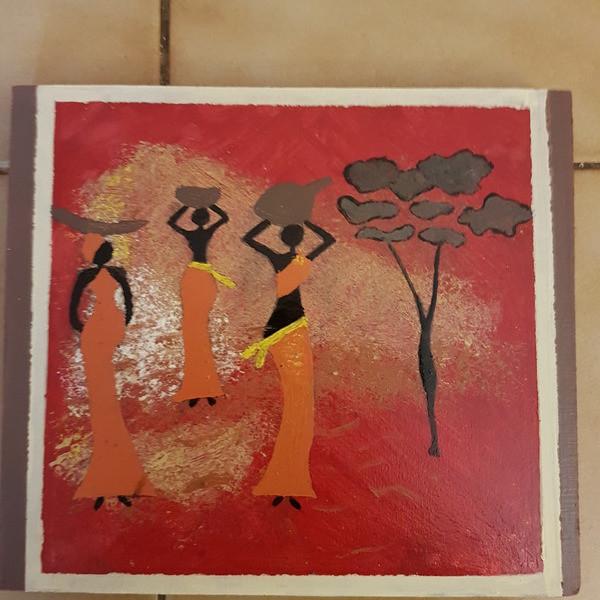 """Une plaque décorative """"la vie africaine"""" - Decorations murales - L'ATELIER DE BETH - Voir en grand"""