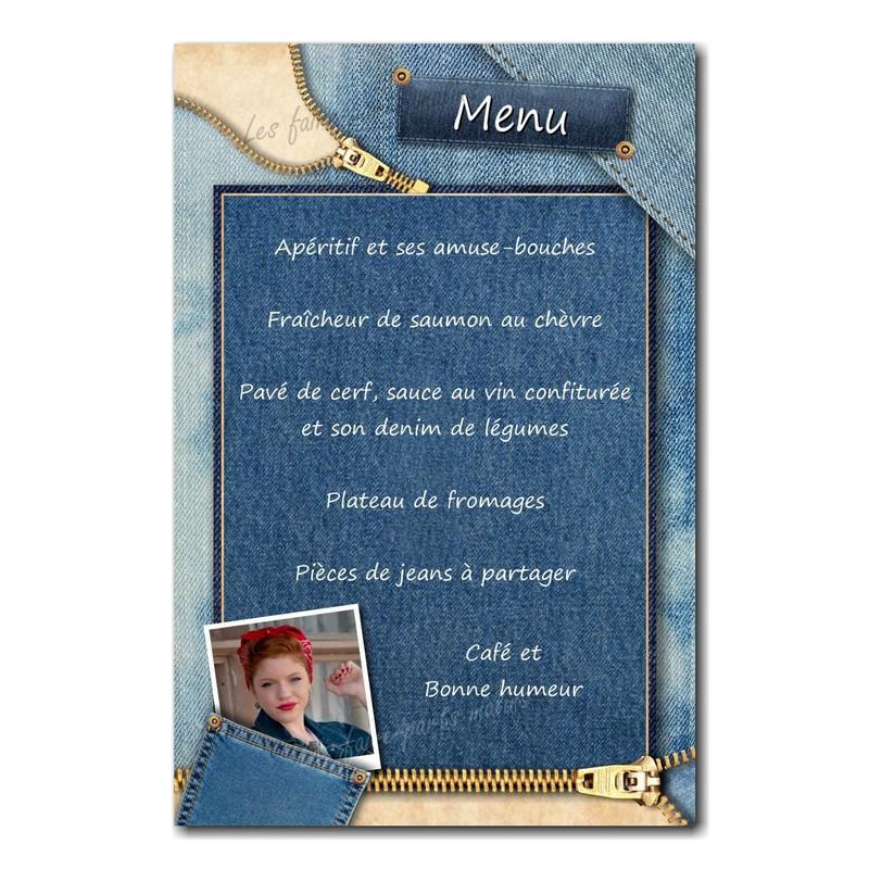 Carte de menu en jean - Voir en grand