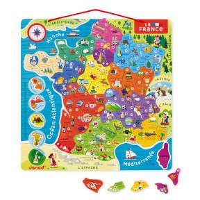 Puzzle France magnétique JANOD 93 pcs bois - PUZZLES - LOU PITCHOUN LA BOUTIQUE DES KIDS - Voir en grand